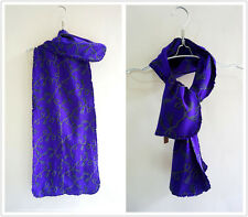 Double fabric purple 100% Natural Silk women tassels print long scarf P702121