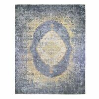 """12'x15'1"""" Gold Farsian Design Wool And Pure Silk HandKnotted Oriental Rug R49356"""