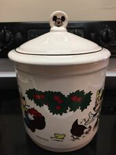"Disney Cookie Jar Ceramic Canister Mickey & Minnie Farm Scene Barn Apples 7"" 806"