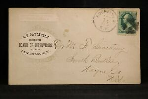 NY: Lincoln 1870s Board of Supervisors Advertising Cover, Mailed from Rochester