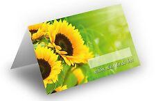 25x Tischkarten (Motiv: Sonnenblumen), 8,5 x 11,2 cm