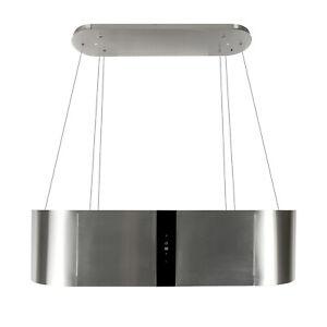 Dunstabzugshaube Inselhaube 120cm Edelstahl Schwarz Glas 1000m³/h EEK B Umluft