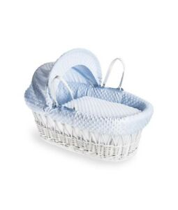 CUDDLES MOSES BASKET BLUE DIMPLE ON WHITE WICKER