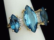 NEW / 5.8 CT Diamond & AAA Topaz Gemstones ring / 14K solid gold