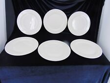 "6 Dinner Plates 12"" By Cac China Rolled Edge Diner Stoneware American Beige"