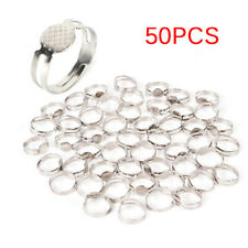 50PCS 16mm Silver Plated Adjustable Flat Pad Ring Bases DIY Blank Findings *