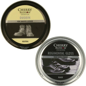 Cherry blossom shoe polish dubbin and regimental black and Brown  gloss