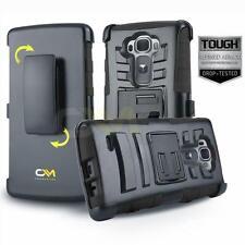 BLACK REFINED ARMOR COVER PHONE CASE & SWIVEL BELT CLIP HOLSTER FOR LG G FLEX 2