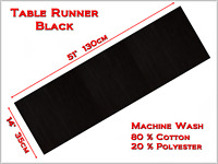 """Table Runner Ribbed Cotton 14""""x51"""" -Wedding, Birthday, Party Decorations -BLACK"""
