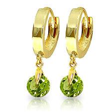 2 CTW 14K Solid Gold Hoop Earrings Natural Peridot