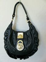 Steve Madden Shoulder Bag Black Leather Ruffled Hobo Handbag