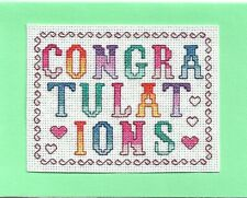 Completed Finished Cross Stitch Special Occasion Card - Congratulations