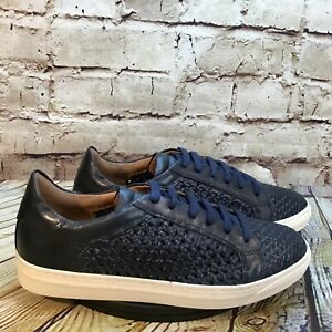 find. Women's Navy Blue Woven Leather Low Lace Up Casual Sneakers Size 8