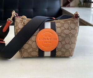 Coach C5483 Dempsey Shoulder Bag in Signature Khaki Orange auth