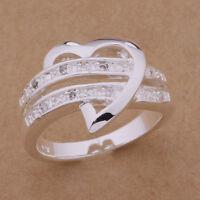 Silber überzogene Wedding Ring Strass Damen Frauen US Größe 7/8/9 Ringe Geschenk
