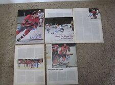 Guy LaFleur Canadiens 8 x 10 Photo Magazine Page Signed AUTOGRAPH Lot of 5