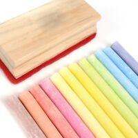 SET OF 12 COLOURED CHALK STICKS + ERASER Blackboard Rubber Drawing Colouring Art