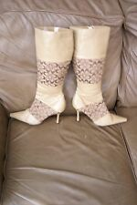 Michael Antonio beige synthetic calf-high heel boots size 9 M