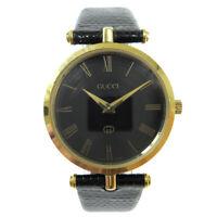 GUCCI Shelly Line Mens Quartz Wristwatch Watch Gold plated Black 32925