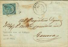 GG125-PIEMONTE, GAVI, NUMERALE A PUNTI PER GENOVA,20 CENT. FERRO DI CAVALLO,1866