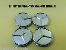 4 x CENTER CAP SILVER CHROME FIT MERCEDES BENZ ML S  E C GL GLK  WHEEL CAPS