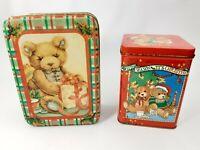 Vintage - Collector Tin Tins - Bear Bears - Holiday's Christmas Theme