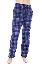 Mens Soft Fleece Pyjama Bottoms / Lounge Pants Blue & Black Check Size XL