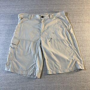 Columbia Shorts Mens 34W, 11L Omni Shade 5 Pocket Light Beige / Off White Fishin