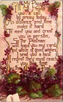 My Proxy Poem Old Postcard With Violets Posted 1910 A1