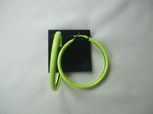Neon Yellow Hoop Earrings Tubular 6cms New