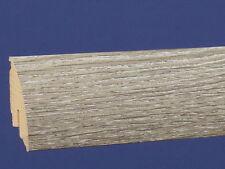 60 mm Clip Sockelleiste - Softline - Länge 2,6 Meter Dekor Eiche Grau