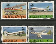 ZAMBIA 1987 ZAMBIA AIRWAYS 20th ANNIVERSARY Sc#397-400 COMPLETE USED SET 0962