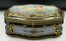 19th Century French Sevres Casket Box Cobalt Blue Porcelain & Bronze by Collot