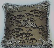 zebra african animal grey black white olive green fringe decorative throw pillow