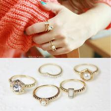 5PCS Stylish Gold Elegant Crystal Rhinestone Pearl Finger Rings Hot Jewelry