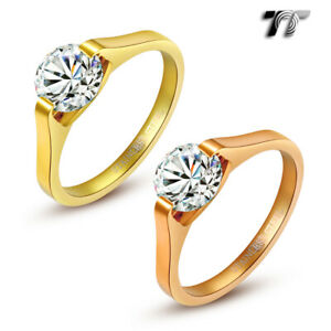 TT Stainless Steel 1.25 Carat Engagement Wedding Band Ring Choose Colour  (R187)