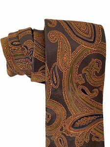 Banana Republic Mens Tie Necktie Copper Brown Paisley 100% Silk Made in Italy
