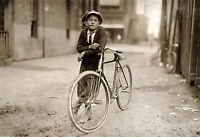 "1913 Old Photo Newsboy, Bicycle, Tobacco Pipe, Bike, 24""x16"" antique America"