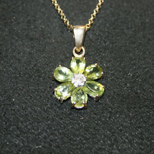 Natural Pear Peridot Diamond Flower Pendant Necklace 14k Yellow Gold over 925 SS