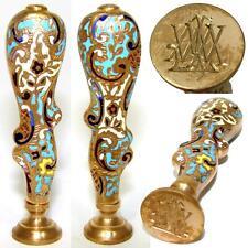 Fine Antique Napoleon III Bronze & Champleve Enamel Writer's Wax Seal or Sceau