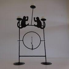 Sculpture singes bougeoir chandelier métal fait main art-déco vintage France