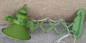 Industrial Vintage Green Adjustable Wall Light Metal Shade Wall Lamp Swivel