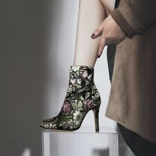 Womens New Vogue Retro Floral Satin Pointed Toe High Heel Ankle Boots Shoes mkmo