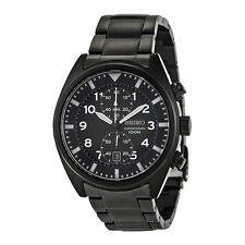 Seiko SNN233 SNN233P1 Mens Chronograph Black Dial Black Steel 100m Quartz Watch