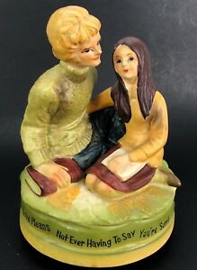 VTG 1970s Sankyo Music Box Retro College Love Birds Figure Statue Japan Chadwick
