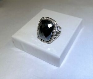 David Yurman Sterling Silver Hematite Diamond Albion Ring
