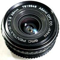 Asahi SMC Pentax-M 28mm f/2.8 Wide Angle Prime Lens UK Fast Post