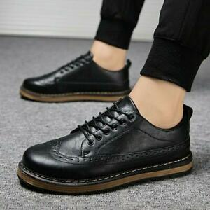 Retro Mens Round toe Lace up brogue Business Formal Dress Low Top Flat Shoes