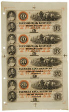 1800's Farmers Bank of Kentucky - $20 Note Uncut Sheet of 4 Notes SKU39664