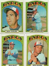 4-1972 topps lot expos 82 ron woods 110 ron hunt 211 sutherland 234 taylor